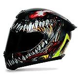 ZYWW Motocicleta Modular Modular Casco Casco Casco Doble Visor Sun Shield Personalidad Pintura Dirt Bike Four Seasons Motorcycle Racing Helmet Certification,Venom (Tea Mirror),XL