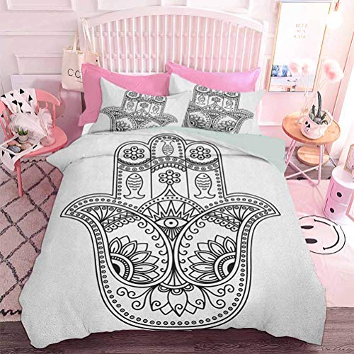 Hiiiman 3-Piece Set for All Season Vintage Icon with Paisley Inspired Details Fishes and Flowers Evil Eye Hand Drawn (3pcs, Queen Size) 1 Quilt Cover and 2 Pillow Sham