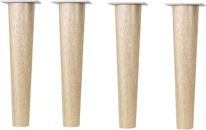 portata 400 kg//882LB,10 cm CPI Set di 4 piedini per mobili in legno di quercia con piastre di montaggio e viti