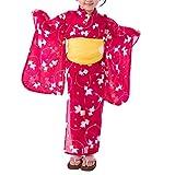 [キョウエツ] 浴衣セット こども 紅梅織り 3点セット(浴衣、兵児帯、下駄) gp ガールズ (120, B.金魚-濃ピンク×兵児帯:黄ピンク)