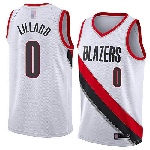 LYY Camisetas De Baloncesto para Hombres, Portland Trail Blazers # 0 Damian Lillard - NBA Suelta Classic Comfort Vestidos Sin Mangas Transpirables Tops Tops Uniformes,Blanco,XL(180~185CM)