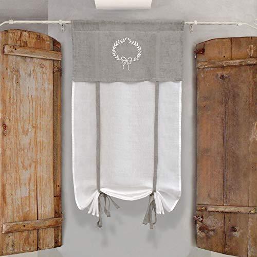GLShabby Vorhang Gardine Raffrollo Raffgardine Bestickt Landhaus Shabby Chic - Stickerei - 60x150 - Weiß/StaubGrau