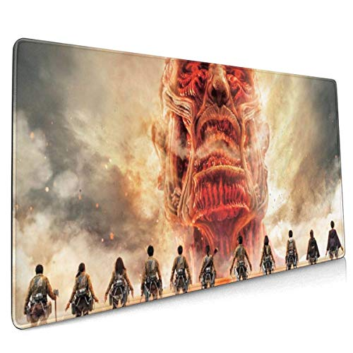 Attack On Titan Gaming Mouse Pad Large Mouse Pad Mat Long Extended Mousepad Desk Pad Non-Slip Rubber Mice Pads Stitched Edges Thin Pad 40 X 90 cm (15.8x35.5 Inches)