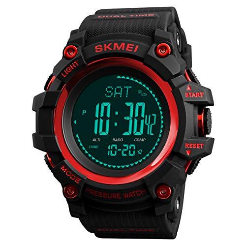 Soapow Reloj analógico con sensor gemelo analógico y digital, para hombre, resistente al agua, con pantalla digital LED, rosso, m, Correa