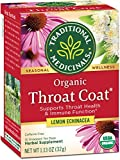 Traditional Medicinals Organic Throat Coat Lemon Echinacea Seasonal Tea (Pack of 1), Supports Throat...