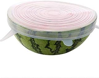 Oulensy 6pcs / Set Reutilizables Tapas de Estiramiento de silicio Universal de Pan Cubierta Envoltura alimentaria Olla tazón de Silicona Tapa Tapa de Silicona cocinar Tapones de Cocina