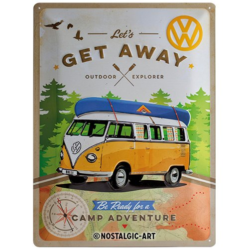 Nostalgic-Art VW Bulli T1 – Let's Get Away – Auto Geschenk-Idee, Retro Blechschild, aus Metall, Vintage-Design zur Dekoration, 30 x 40 cm