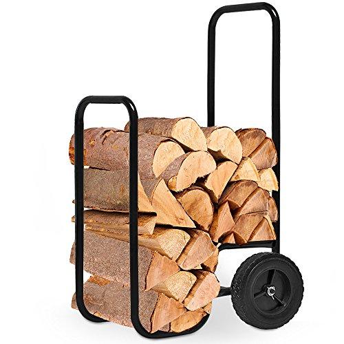 Deuba Carretilla para Troncos de madera Carro Leñador para Chimenea Transportador de Leña con dos ruedas Carga máx 80kg