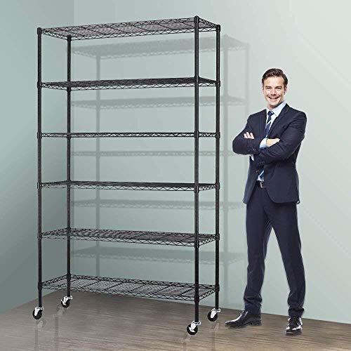Storage Metal Shelf Wire Shelving Unit with Wheels 82