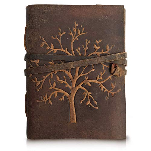 RSN Leather Journal Vintage Hand Embossed Tree of Life - Writing Notebook Handmade Leather Bound Daily Notepads for Men & Women 7x5 Inches - Best Gift for Art Sketchbook, Travel Diary