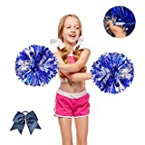 Blue and Silver Metallic Foil Cheerleader Cheerleading Pom Poms with Plastic Handle for Kids Adults School...