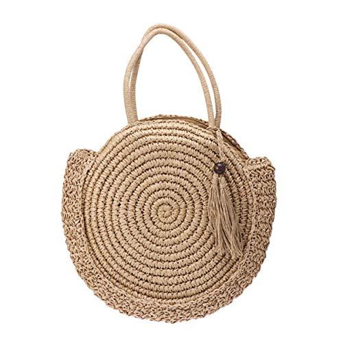 borsa a tracolla rotonda bohemien borsa nappa di paglia moda grande capacità donna intrecciata borsa tote estate cerchio boho borsa chic naturale - marrone