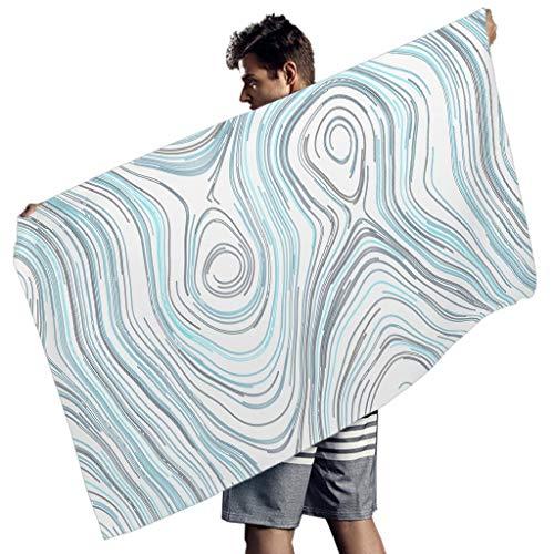 Toomjie Grafik Mikrofaser-Strandtuch Schnelltrocknend Badetuch dünn Grafik Muster Yoga Teppich für Schwimmen White 150x75 cm