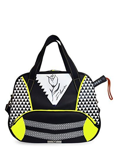 IDAWEN Sport Fashion Bolsa de Pádel - Paletero Pádel Mujer - Ideal para Guardar la Pala de Pádel, Zapatillas y Pelotas de Pádel - Bolsa Impermeable - Color Geotulip Blanco - 49 x 40 x 15 cm