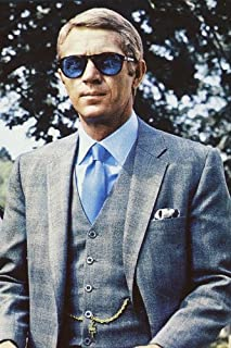 fe0e8a95a6f7c Steve McQueen 24x36 Poster in blue suit and classic blue Persol sunglasses  Thomas Crown Affair