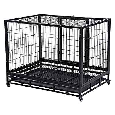 Pawhut Metal Kennel Cage with Crate Tray and Wheels - Black by Sold By MHSTAR