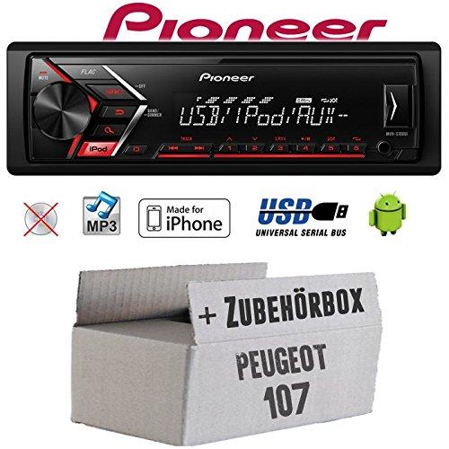 Autoradio Radio Pioneer MVH-S110UI - | MP3 | USB | Android | iPhone Einbauzubehör - Einbauset für Peugeot 107 - JUST SOUND best choice for caraudio
