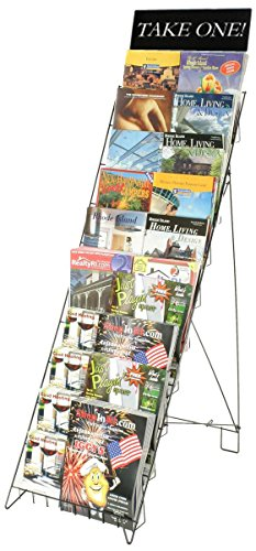 """Wire Literature Rack for Floor with 10 Tiers, 47""""h Magazine Stand with Header Holds 20 Full-Size Catalogs, Black"""