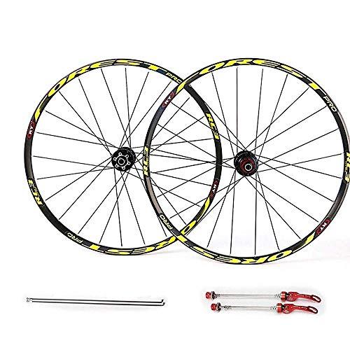 AIFCX Mountainbike-Rad-Set, 26 27,5 Zoll MTB Aluminiumlegierung Rad Quick Release 28 Löcher 7 8 9 10 11 Speed Rear Hubs,Yellow-27.5inch