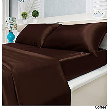 Luxury Solid Color 4-Piece Satin Bed Sheets Set - Silky Smooth, Super Soft, Wrinkle Resistant Sheets and Pillowcases (King, Coffee)