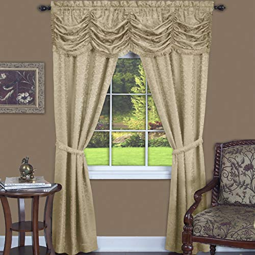 "PowerSellerUSA 5-Piece Complete Window Curtains Set with Panels, Valance, Tiebacks, Room Darkening Curtains, Luxurious Window Curtains for Living Room, Bedroom, Dining Room, 55"" W x 63"" L, Cream"