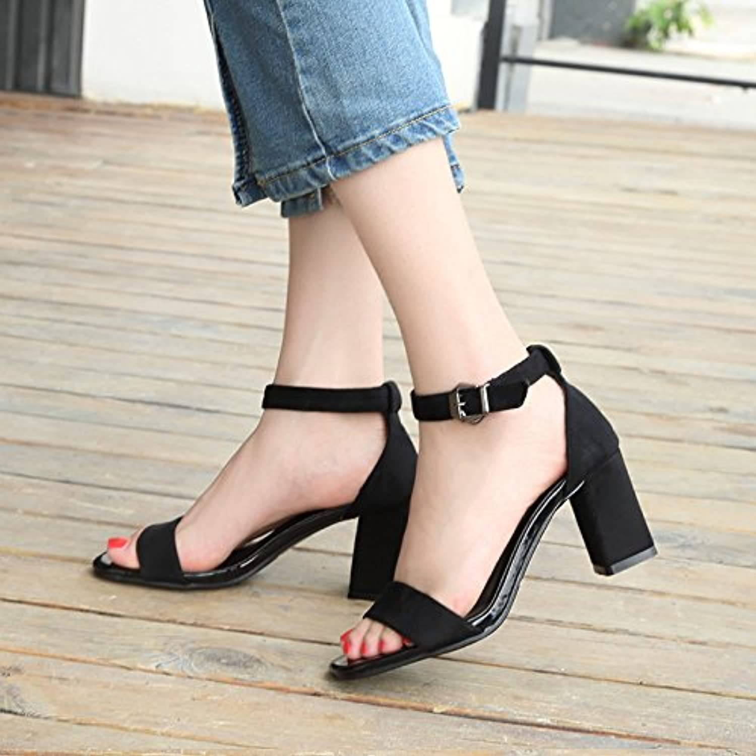 2017 New Summer Sandals Female coarse and Black Students All-Match Toe Strap high-Heeled shoes SW a Rome Woman