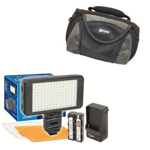 Toshiba CAMILEO X200 Camcorder Lighting Vidpro Ultra-Slim LED-230 Video and Photo LED Light Kit- with SDC-26 Case