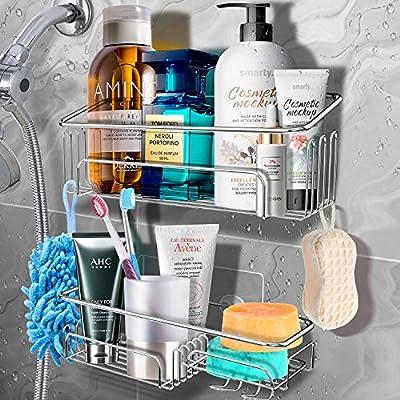 Shower Caddy Basket Shelf with Hooks, JOMARTO Bathroom Storage Rack for Hanging Razor/Shampoo Organizer No Drilling Adhesive Wall Mounted Bathroom Shelf,Rustproof SUS304 Stainless Steel-2 Pack