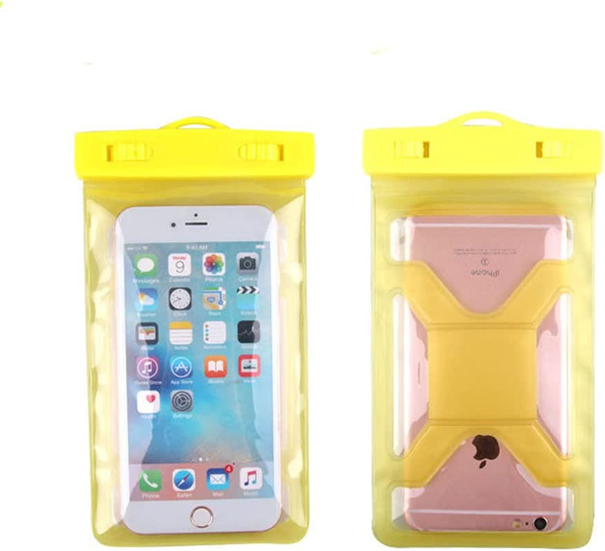 Gefag Mobile Phone Dry Bag with Arm Strap and Tether, Swimming Mobile Phone Waterproof Bag, Supporting Mobile Phone with Maximum Size of 7 Inches (Yellow)