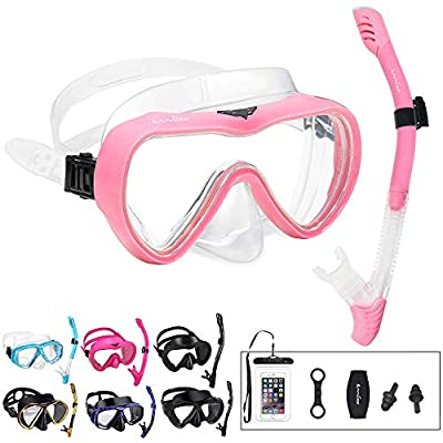 OMGear Snorkel Set Snorkeling Gear Package Diving Set Premium Silicone Dive Mask Snorkel Equipment Goggles Anti-Fog Anti-Leak Neoprene Mask Strap Scuba Freediving Spearfishing Swimming (Pink 02)