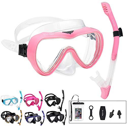 OMGear Snorkel Set Snorkeling Gear Package Diving Set Premium Silicone Dive Goggles Snorkel Equipment Goggles Anti-Fog Anti-Leak Neoprene Strap Scuba Freediving Spearfishing Swimming (Pink 02)