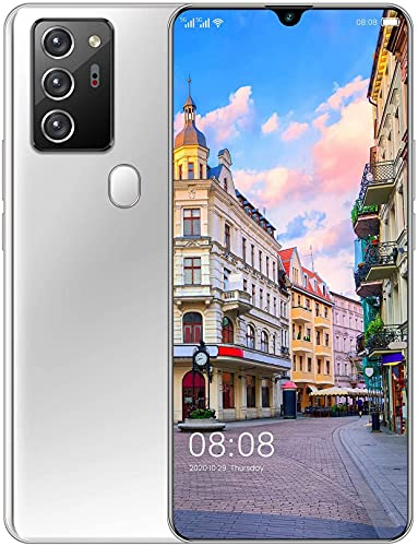 WWJ Mobile Phone, Note30 Pro Android 10.0, 4G Smartphone SIM Free Phones Unlocked, 7.1 inch Full Screen, 5600mAh Big Battery, 32MP+48MP Camera, 4GB+64GB GPS WiFi, Face ID,White