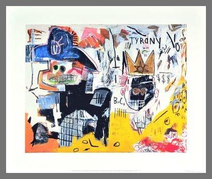Germanposters Jean-Michel Basquiat Tyrany 1982 Poster stampa artistica su cornice in alluminio color champagne 46 x 56 cm
