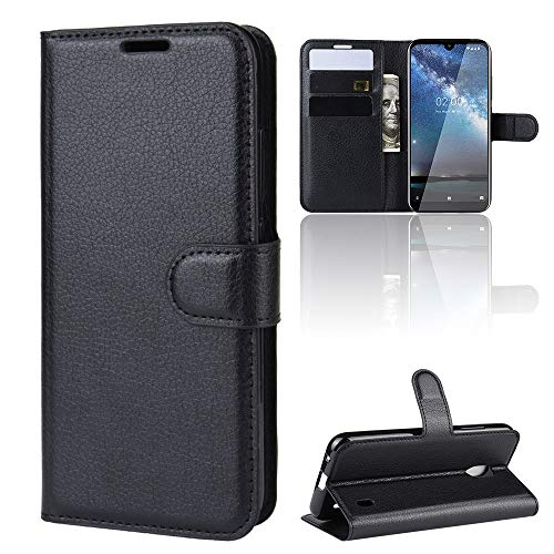 ROVLAK Hülle für Nokia 2.2 Wallet Flip Case mit Kartenslot Stoßfeste Lichee Muster PU Leder Case+Innenseite TPU Silikon Hülle mit Kickstand Tasche für Nokia 2.2 Smartphone Case,Schwarz