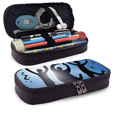 XCNGG Estuche para lápices neceser Happy Jumping Group People and SkyLeather Pencil case, Waterproof, Fashionable and Durable, can be Used for Students, Schools, Offices, Colleges