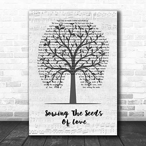 Zaaien De Zaden van Liefde Muziek Script Boom Song Lyrische Quote Muziek Poster Print Medium A4