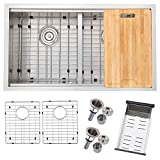 VALISY 33-inch Brushed Nickel Stainless Steel Workstation Double Bowl Undermount Kitchen Sink, Kitchen Sinks with Adjustable Dish Drainer & Dish Grid & Basket Strainer & Cutting Board