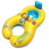 HONGCI Doppel schwimmring Schwimmhilfen Schwimmen Ring für Baby von 6 Monaten bis 2 Jahre und Mutter Aufblasbare Schwimmreifen Schwimmen Ring Pool Boot Spielzeug UV-Vorbereitung (Gelb)