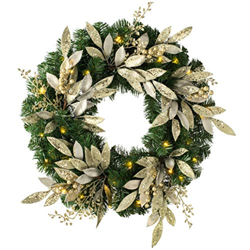 WeRChristmas Pre-Lit Decorated Christmas Wreath with 35 Warm White LED Lights, Champagne, 60 cm