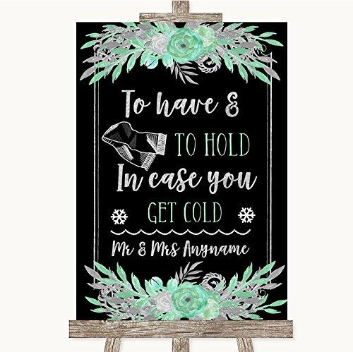 Zwarte munt groen & zilver collectie zwarte munt groen & zilver bruiloft deken sjaal trouwbord Framed Rose Gold Medium