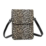 Bolso de hombro pequeño, clásico de leopardo, bolso cruzado para teléfono móvil, cartera ligera para mujeres y niñas