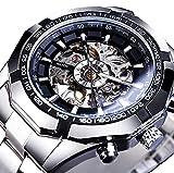 ZFAYFMA Reloj Retro de Hombres, Relojes Impermeables de Acero Inoxidable de Acero Inoxidable Reloj Hueco Hollow con diseño de dial Grande, maquinaria Hueca de Lujo Silver