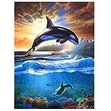 Lcgbw Pintar por Numeros Delfín Animal Pintar por Números para Niños Adultos Kit De Pintura Al Óleo DIY Principiante(Sin Marco De Madera)-40cmx50cm