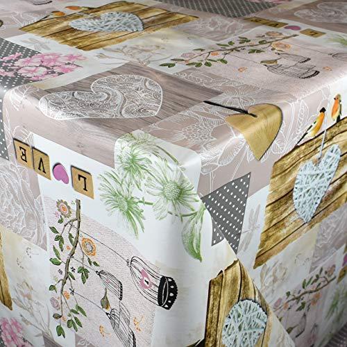 Kevkus P265-1 Mantel de hule por metros con flores, pájaros, corazón, corazón, madera, bienestar a elegir en forma rectangular ovalada (cinta: ribete (con cinta de plástico), 140 x 300 cm, ovalado)