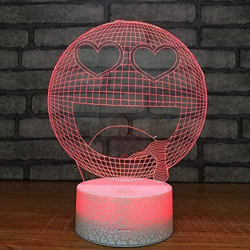 3D LED Lampe Smile Pack Emoticon Veilleuse Optique d'illusion Lampe Lumière de Nuit 7 Couleurs avec Câble USB pour Chambre Maison Décoration Enfants D'anniversaire De Noël Cadeau