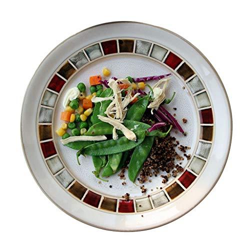 Platos Rejilla de Color nórdica Creativa Cena Occidental Redondo Plano Carne Plano de cerámica Esmalte Colorido (Color : Blanco, Size : 28.5×3.5cm)