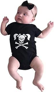 Baby Boys Girls Skull Print Halloween Costume Long Sleeve Romper Jumpsuit Outfit (3-6 Months, Black)