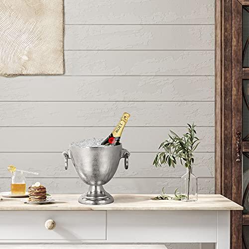 WOMO-DESIGN Champagnerkühler Monaco Sektkühler Weinkühler Aluminium Silber Ø 19 x 23 cm Flaschenkühler Kühler für Sekt, Wein und Champagner, Getränkekühler, Sektschale, Champagnerschale Edler Glanz