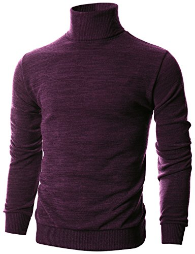Ohoo Mens Slim Fit Long Sleeve Turtleneck Mixed Ribbed Hem Pullover Sweater/DCP024-PURPLE-L
