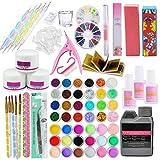 Sttoce Nail Art Set, 25pcs Beauty Shop Acrílico Gel UV Gel Set, Acrílico Nail Kit Falso, Kit Completo de Uñas Accesorio Starter Practice Tool, DIY Manicure Set, Uñas Postizas Acrílico Nail Art Kit